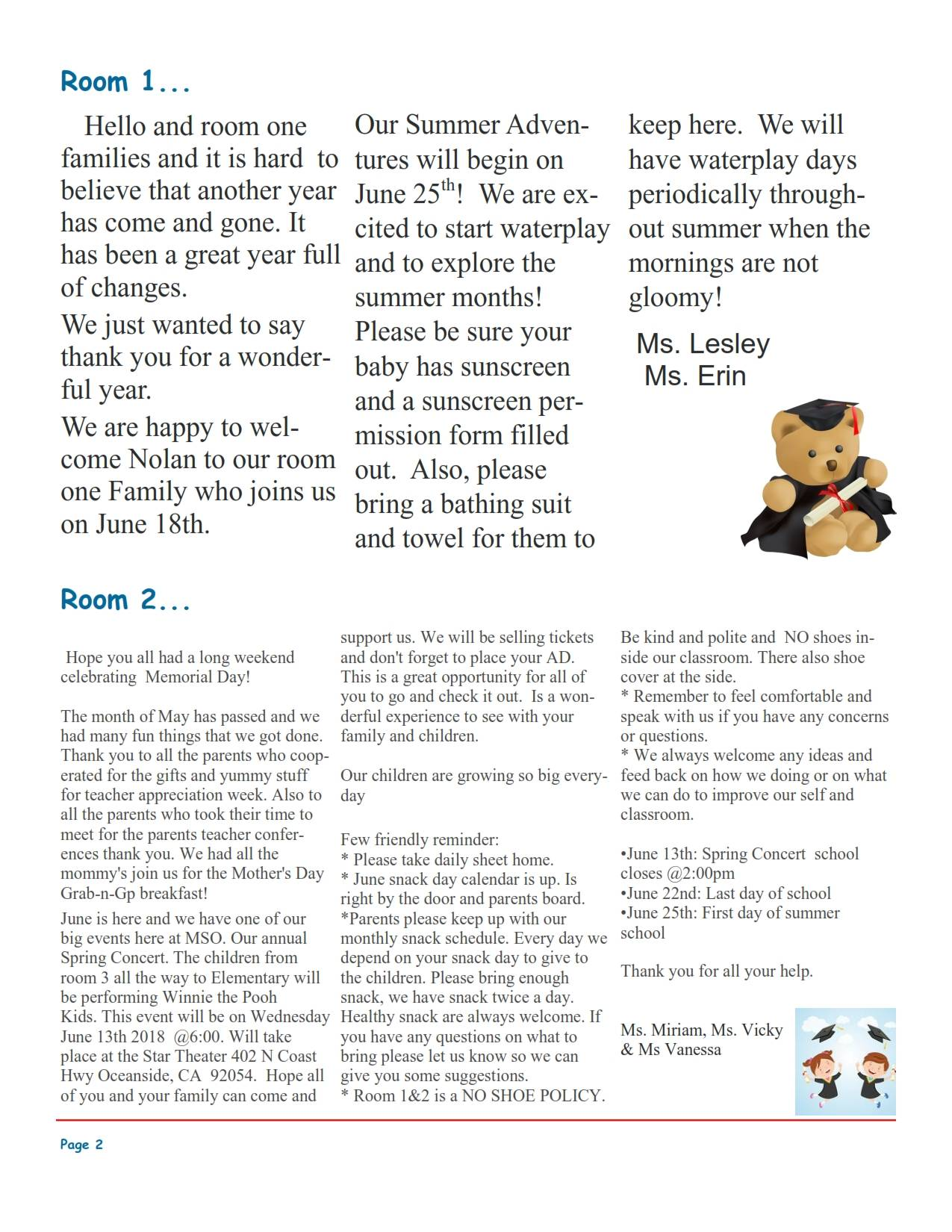 MSO June 2018 Newsletter. Room 1 and Room 2