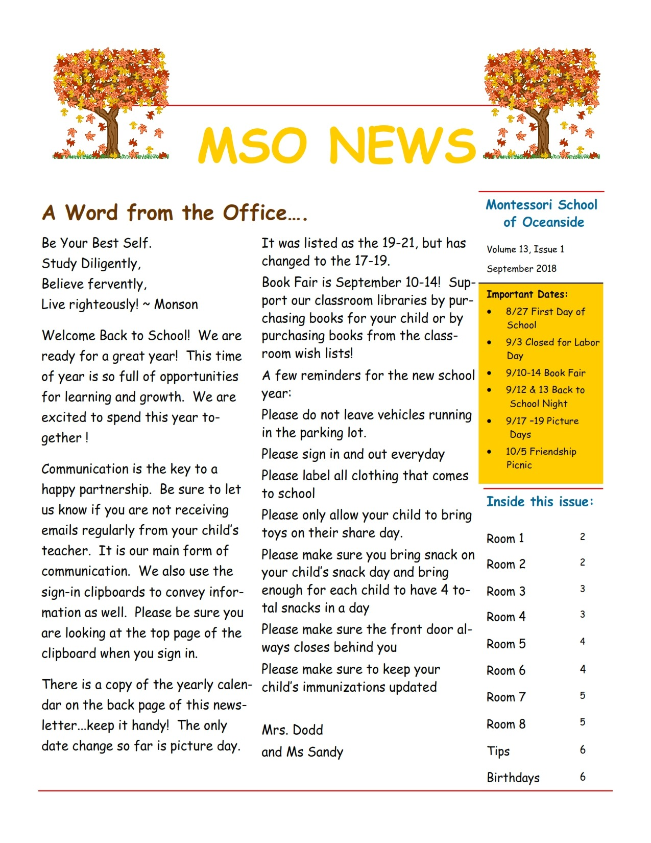 MSO September 2018 Newsletter. A Word from the Office...