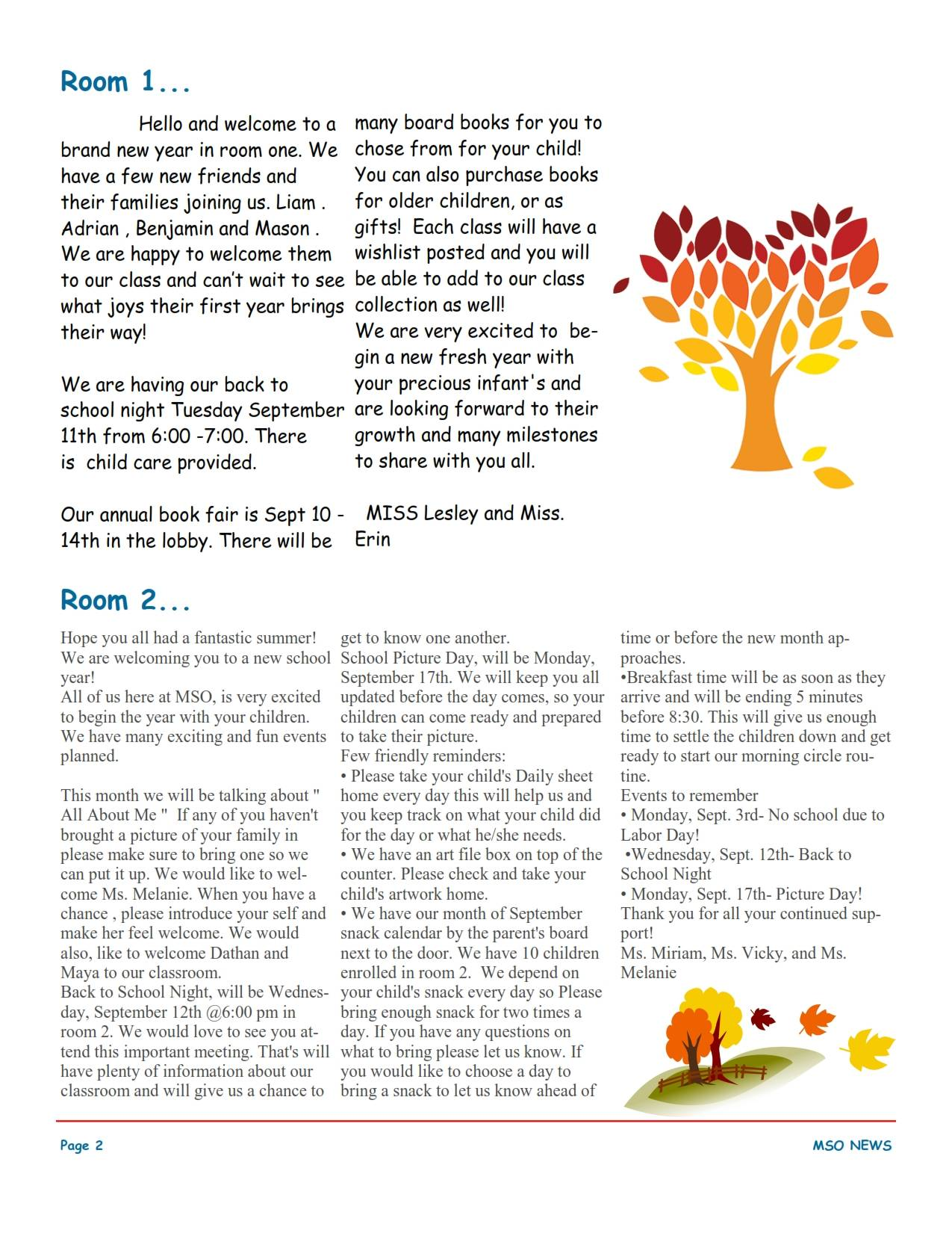 MSO September 2018 Newsletter. Room 1 and Room 2