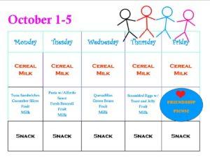 Menu for October 1-5