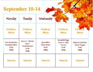 Menu for September 10-14