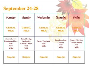 Menu for September 24-28